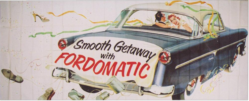Magnificent N.O.S. 1954 Ford Automobiles roadside billboard sign. - Front 3/4 - 113248