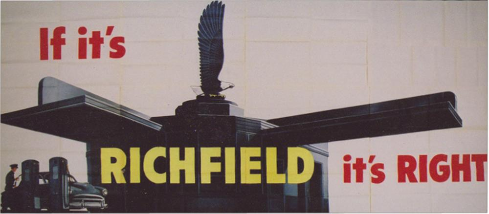 Sensational N.O.S. 1950s Richfield Gas and Oil roadside billboard sign. - Front 3/4 - 113249