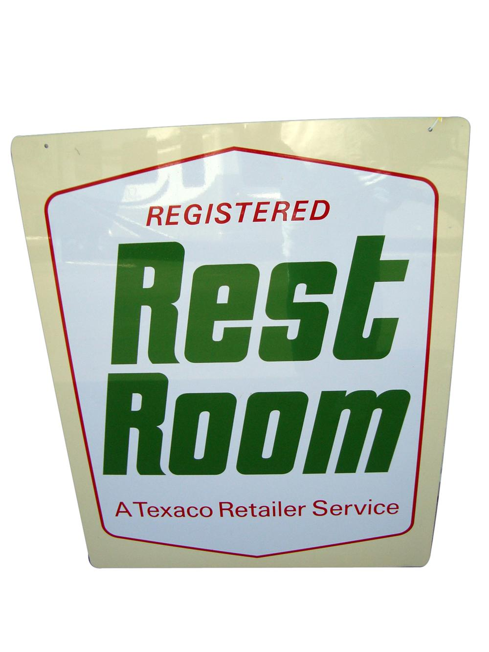 N.O.S. 1960s Texaco Approved Rest Room double-sided tin painted service station sign. - Front 3/4 - 113254