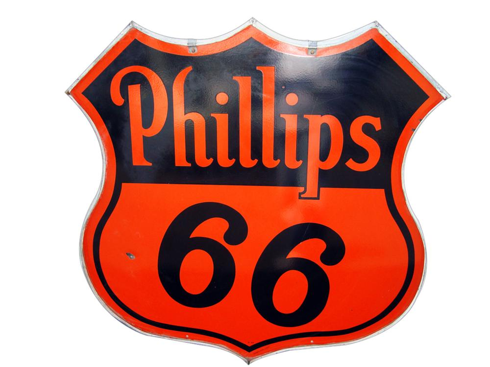 Sharp 1940s-50s Phillips 66 double-sided porcelain service station shield shaped sign in original hanging frame. - Front 3/4 - 113255