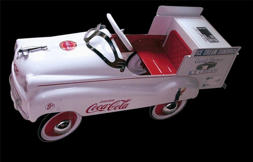 One of a kind 1940 Murray pedal car nicely restored and converted in to a Good Humor Ice Cream truck. - Front 3/4 - 113256