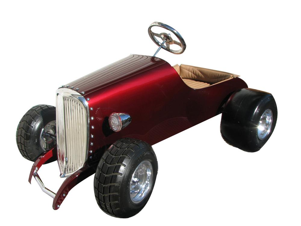 Nifty 1934 Ford hand built coupe street rod pedal car with menacing grill, upholstered interior and lots of chrome. - Front 3/4 - 113260