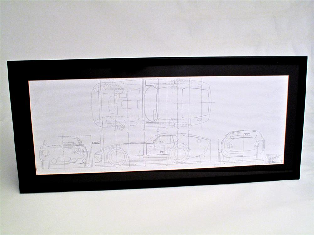 Factory copy of the original blue print for the Shelby Cobra Daytona Coupe personally signed by Carroll Shelby and Peter Bro... - Front 3/4 - 113264