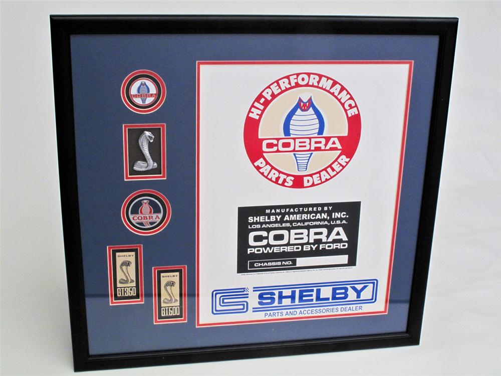 Awesome framed and matted display of all original Shelby Cobra Factory emblems and decals. - Front 3/4 - 113266