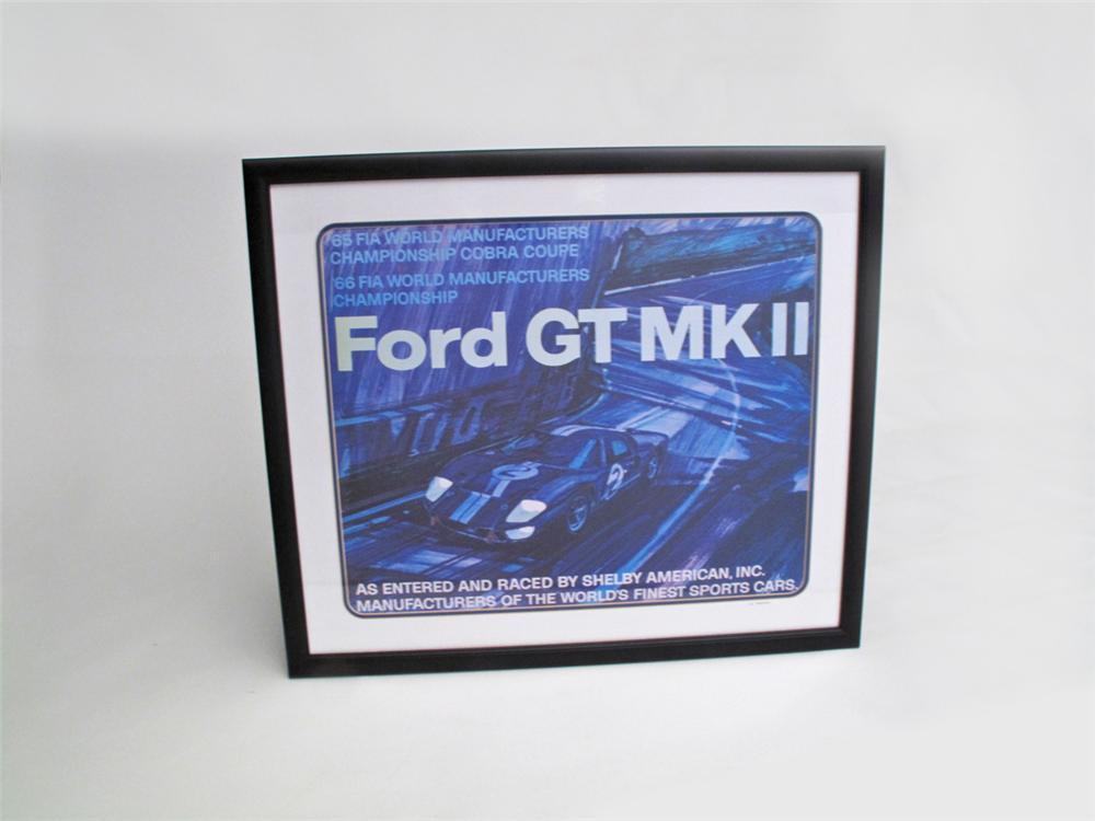 Choice factory reprint of the original oil artwork for the 1966 Ford GT MKII Shelby racing poster. - Front 3/4 - 113269