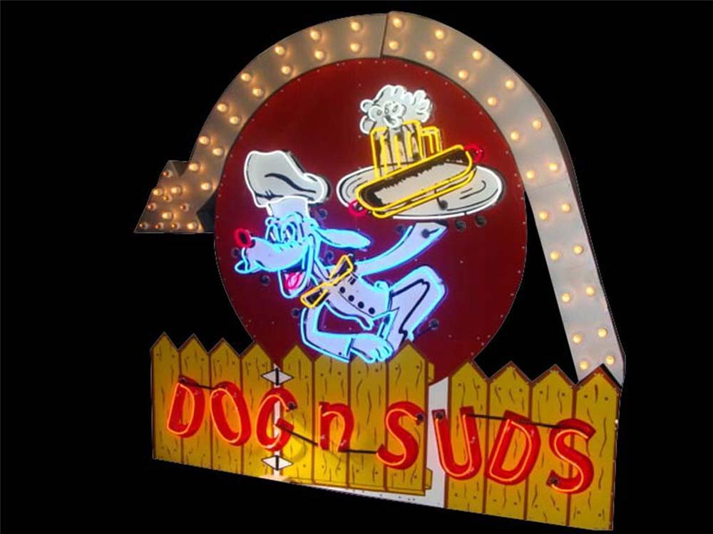 Killer 1950s Dogs-N-Suds Drive-In single-sided neon porcelain sign with arrow. - Front 3/4 - 113270