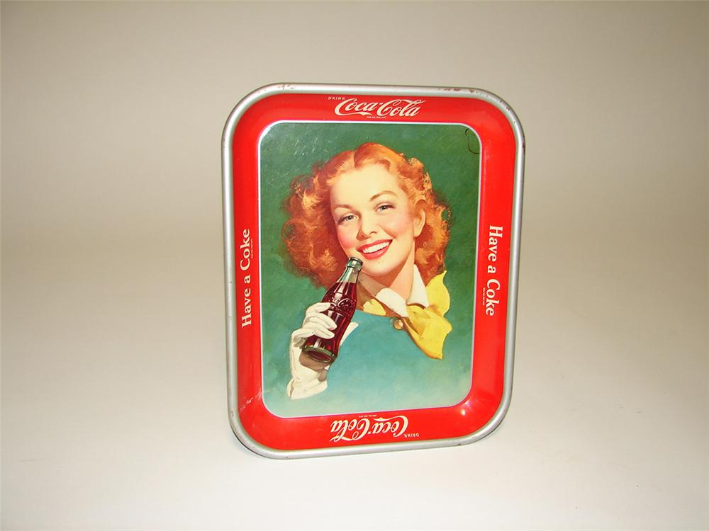 Late 1950s Drink Coca-Cola soda fountain tray with charming girl/bottle graphic. - Front 3/4 - 113273