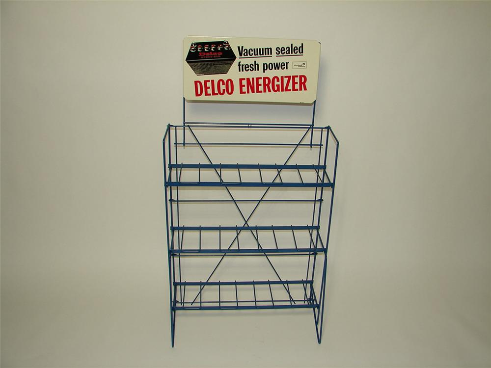 """N.O.S. late 1950s Delco """"Energizer"""" Batteries GM dealership service department battery display rack. - Front 3/4 - 113276"""