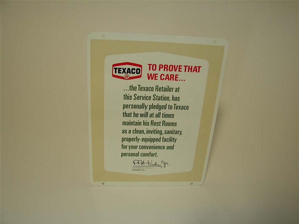 "N.O.S. late 1950s-60s Texaco ""Clean Rest Rooms"" double-sided tin service station pledge sign. - Front 3/4 - 113277"
