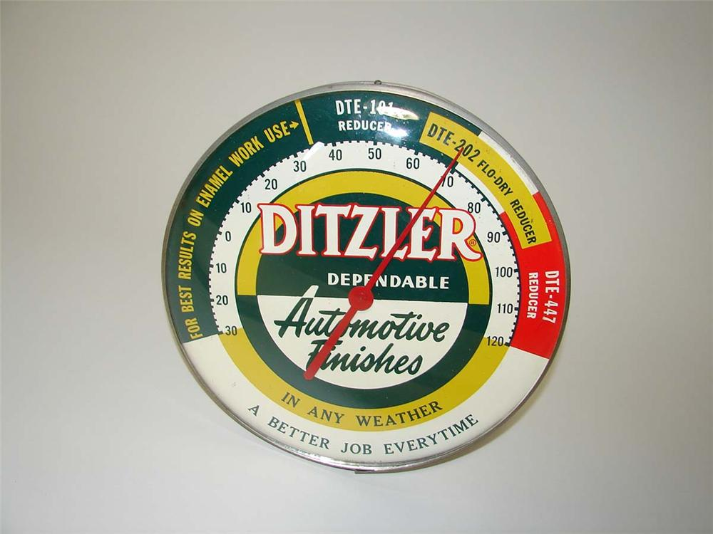 1950s-60s Ditzler Automotive Finishes glass faced service garage dial thermometer. - Front 3/4 - 113283