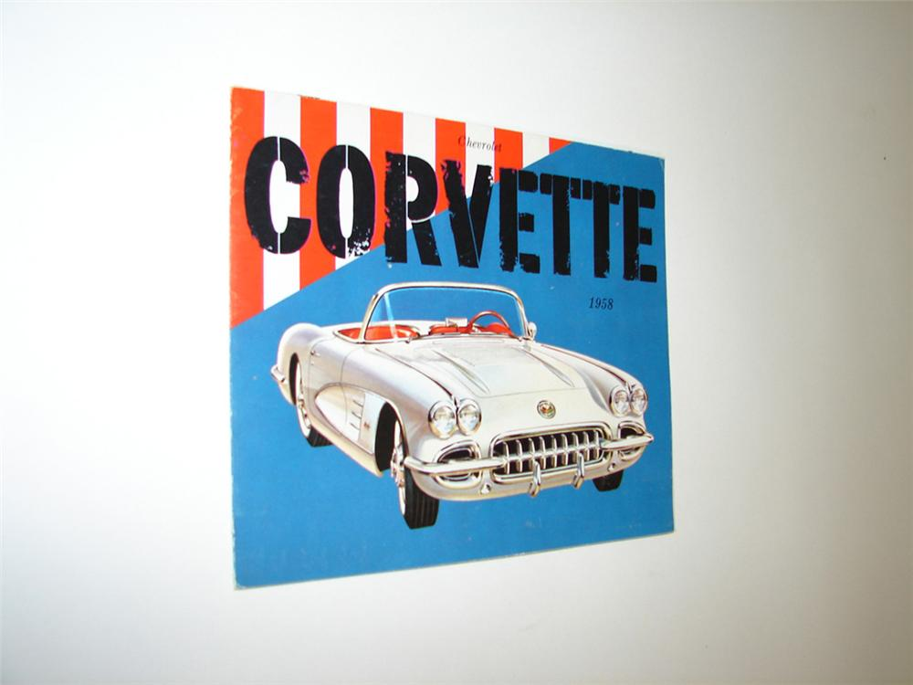 N.O.S. 1958 Chevrolet Corvette fold-out color showroom sales brochure. - Front 3/4 - 113288