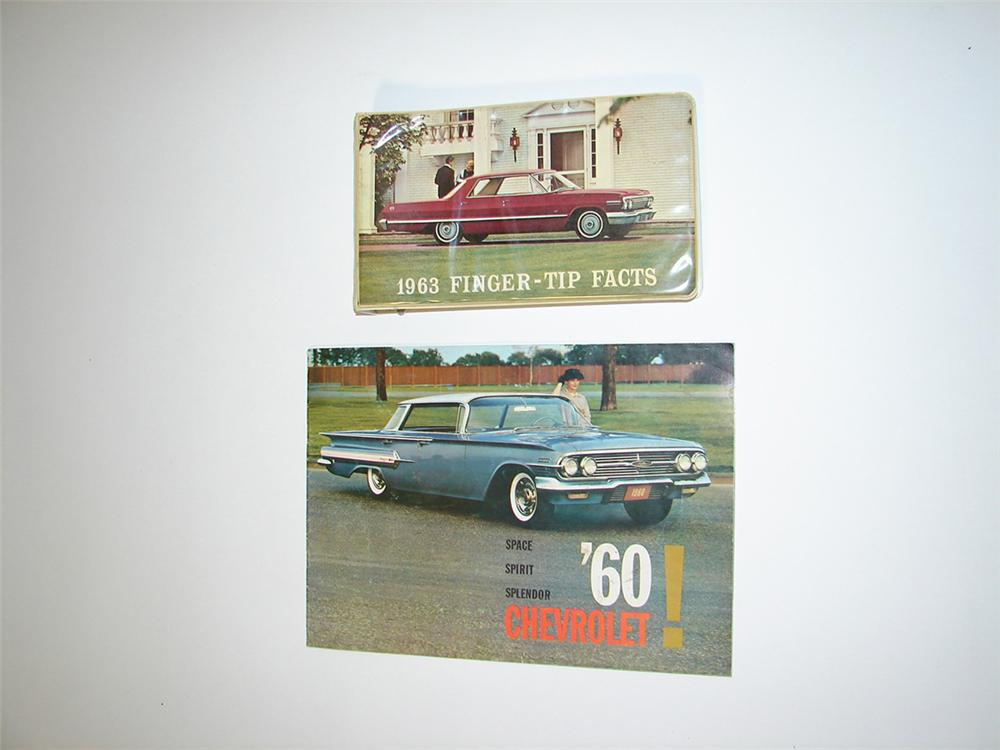"Selling as a pair 1963 Chevrolet Showroom Sales ""Finger Tip Fact Book"" and a 1960 Chevrolet 24 page color sales brochure. - Front 3/4 - 113290"