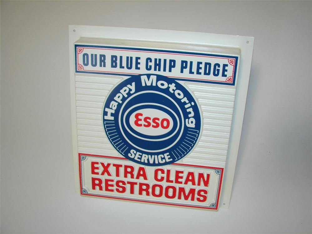 """Fabulous 1960s Esso Oil Happy Motoring Service """"Clean Rest Room Pledge"""" service station sign. - Front 3/4 - 113294"""