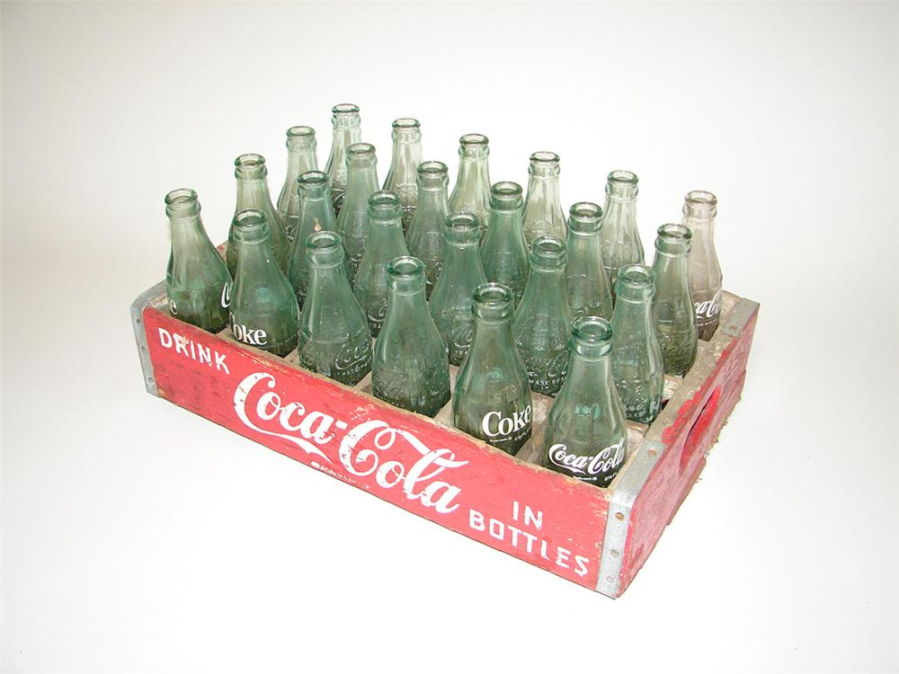1950s wooden case of coca-cola embossed glass bottles from various plants. - Front 3/4 - 113296