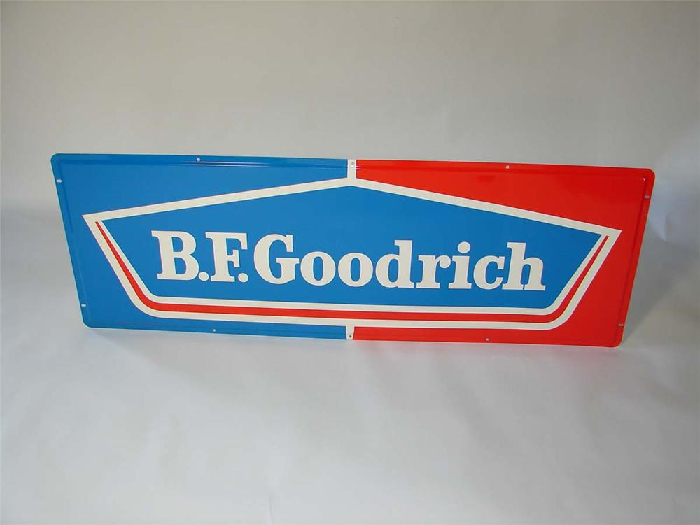 N.O.S. 1960s BF Goodrich Tires horizontal tin garage sign. - Front 3/4 - 113299