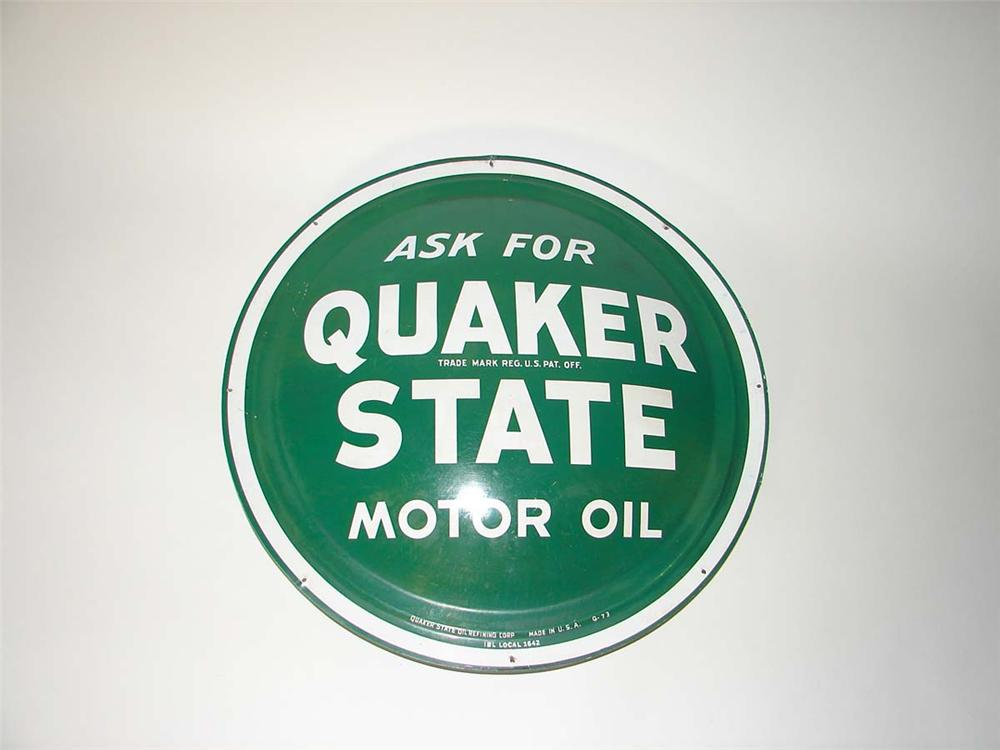Good looking Quaker State Motor Oil metal bulls-eye disc sign. - Front 3/4 - 113300
