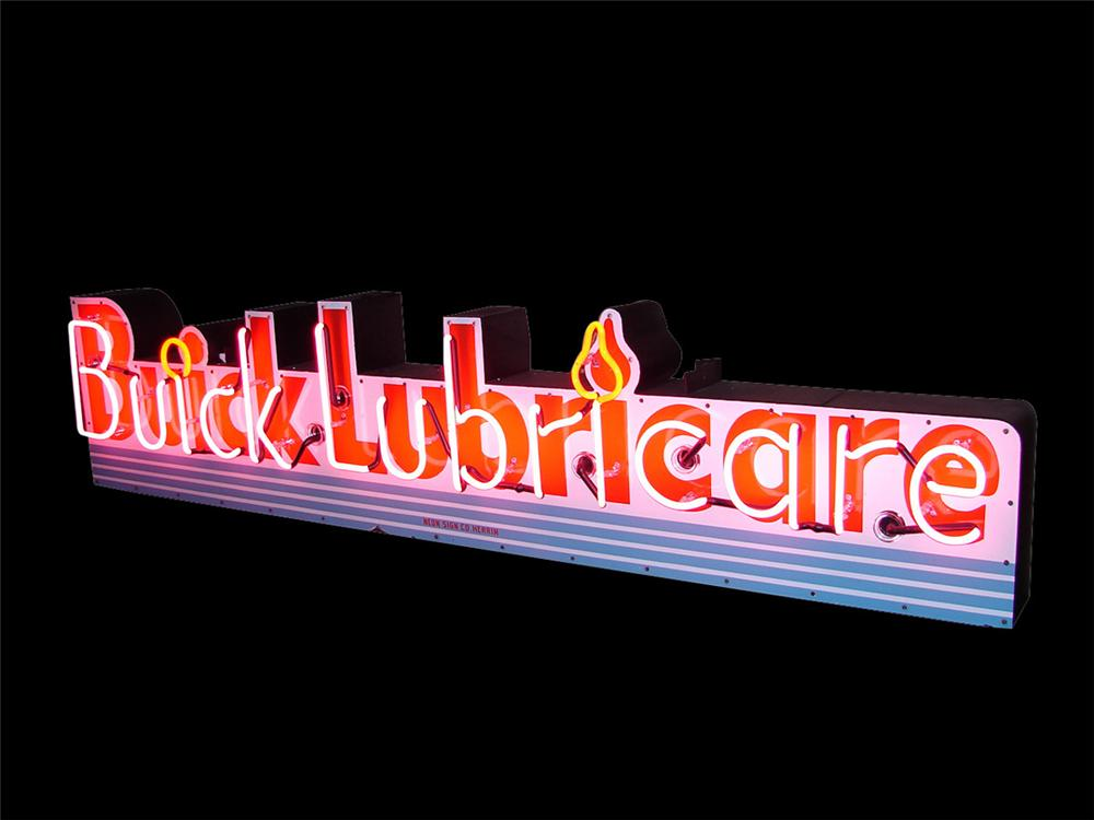 Near perfect late 1940s-50s Buick Lubricare single-sided porcelain neon dealership sign. - Front 3/4 - 113312