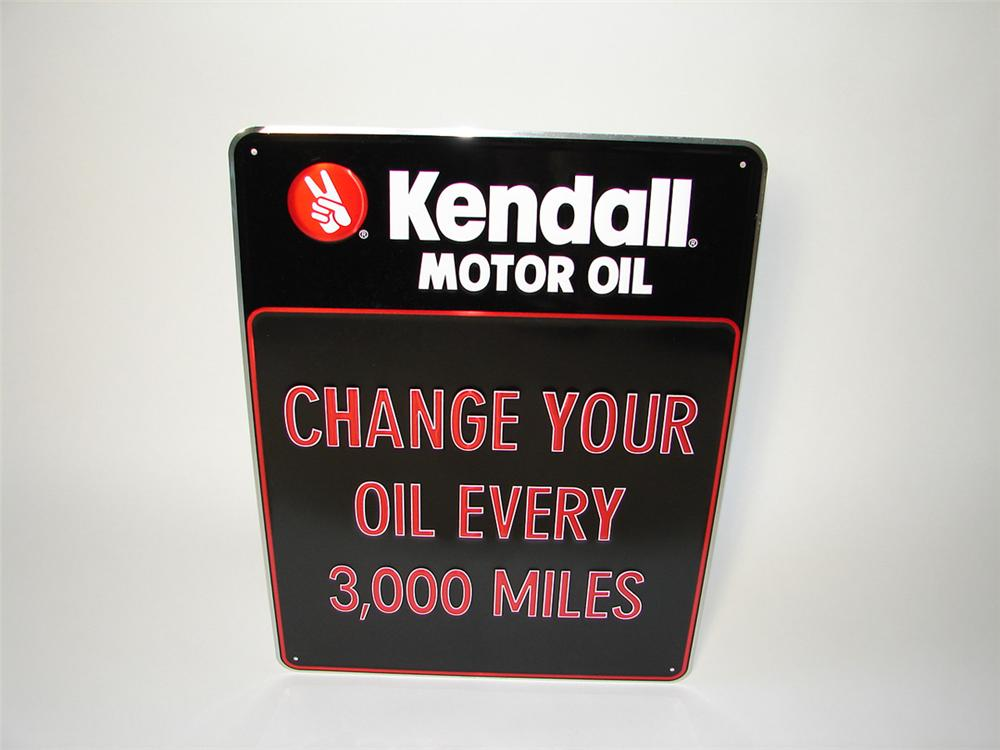 """N.O.S. Kendall Motor Oil """"Change Your Oil"""" single-sided embossed tin garage sign. - Front 3/4 - 113314"""