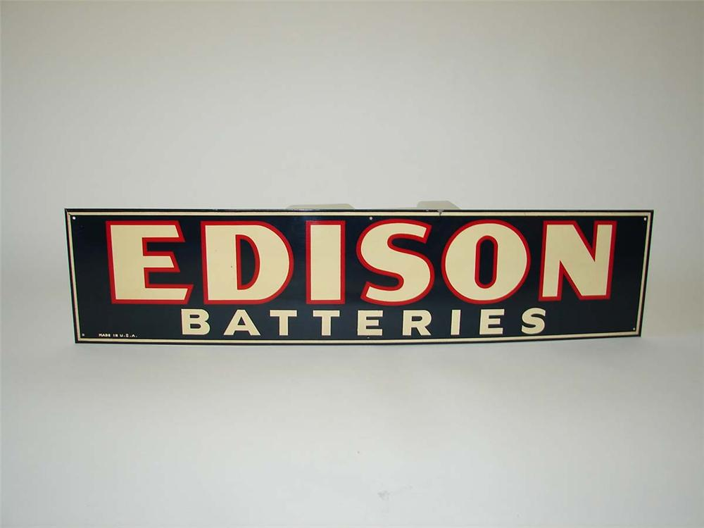 N.O.S. 1930s Edison Batteries single-sided tin automotive garage sign. - Front 3/4 - 113325
