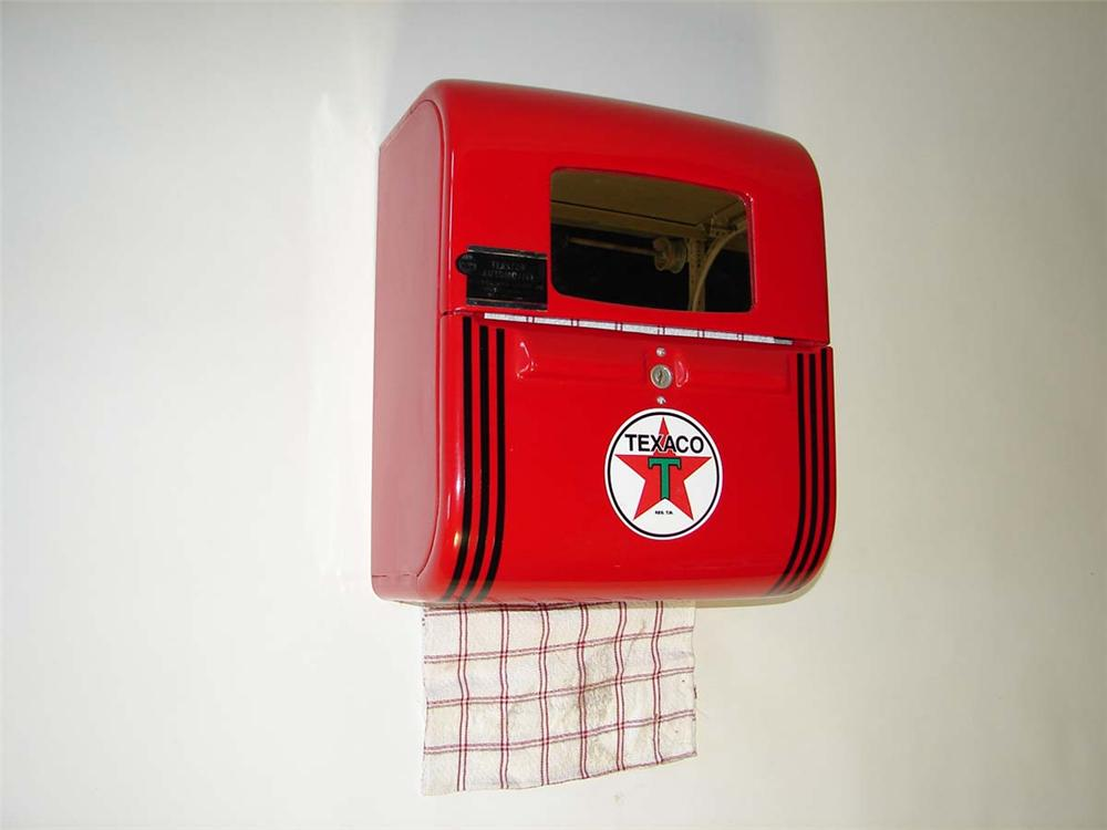 Very cool 1950s restored Texaco Service Station Rest Room hand towel dispenser. - Front 3/4 - 113330