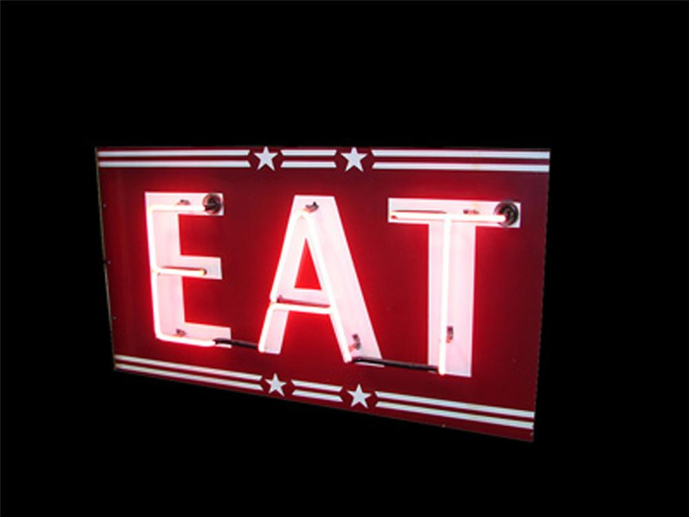 "Terrific 1930s-40s ""Eat"" double-sided neon porcelain road side diner sign. - Front 3/4 - 113338"