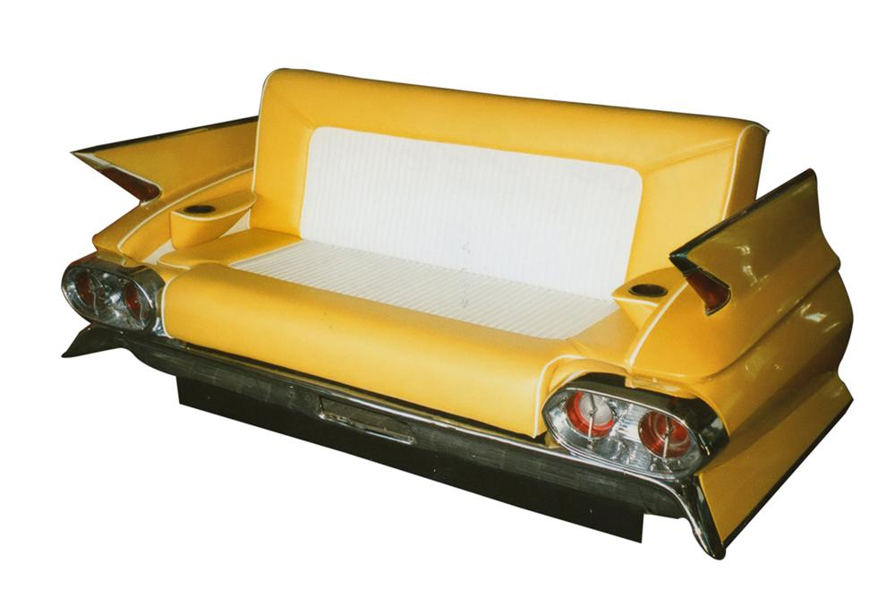 Phenomenal authentic 1961 Cadillac rear end cleverly converted into a car couch. - Front 3/4 - 113342