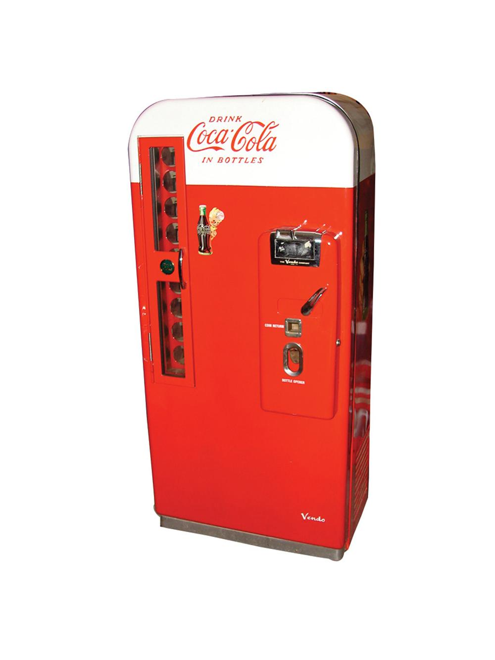 Awesome professionally restored 1950s Coca-Cola Vendo 81 coin-operated ten cent soda machine. - Front 3/4 - 113343