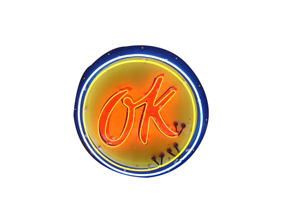 Choice 1950s Chevrolet OK Used Cars single-sided neon porcelain dealership sign. - Front 3/4 - 113345