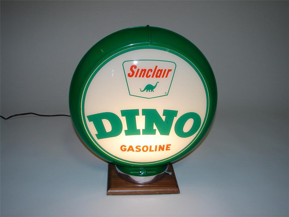 Fantastic N.O.S. 1950s Sinclair Dino Gasoline gas pump globe with Dino logo. - Front 3/4 - 113347