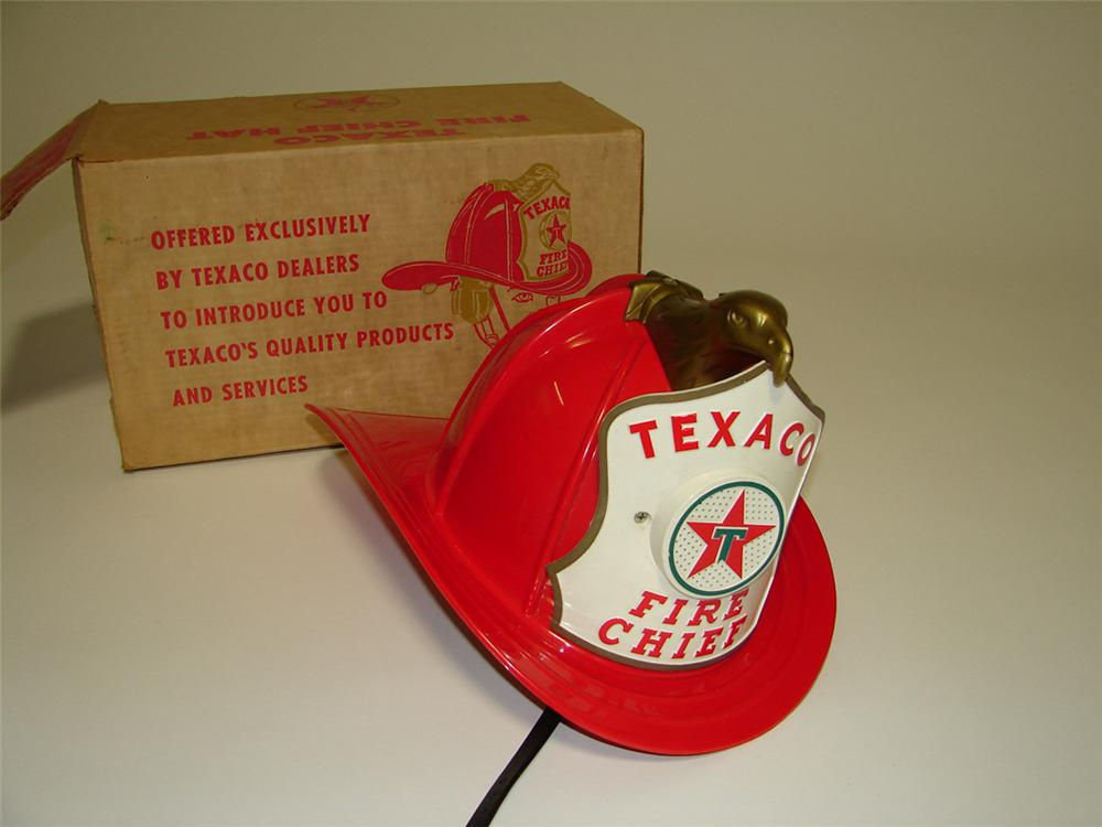 Awesome early N.O.S. 1960s Texaco Fire Chief childs promotional helmet with built in microphone/speaker. - Front 3/4 - 113350