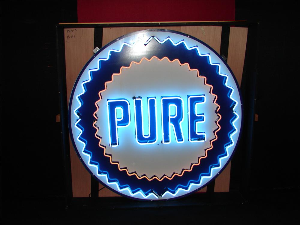 Extraordinary 1950s Pure Oil service station single-sided porcelain neon service station sign. - Front 3/4 - 113356