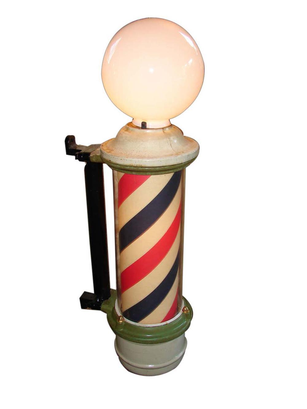 Hard to find circa 1930s Barber Shop wall mounted porcelain barber pole which internally lights and rotates. - Front 3/4 - 113357