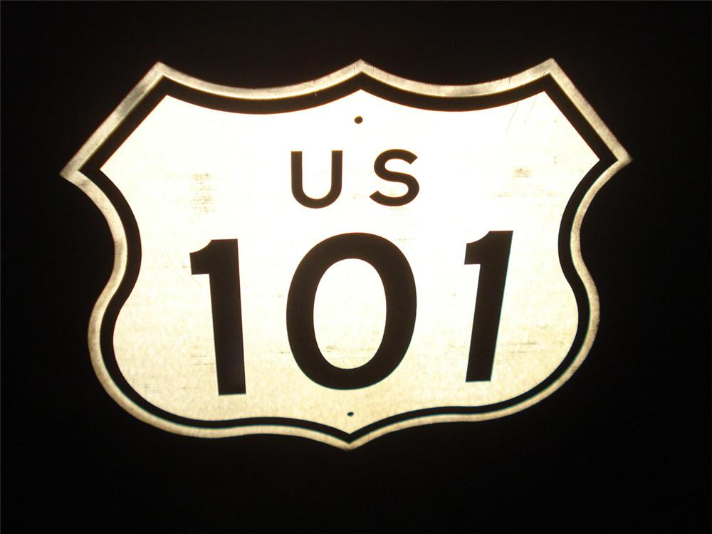 "Vintage California U.S. 101 highway road sign. Size 21""x21"" - Front 3/4 - 113358"
