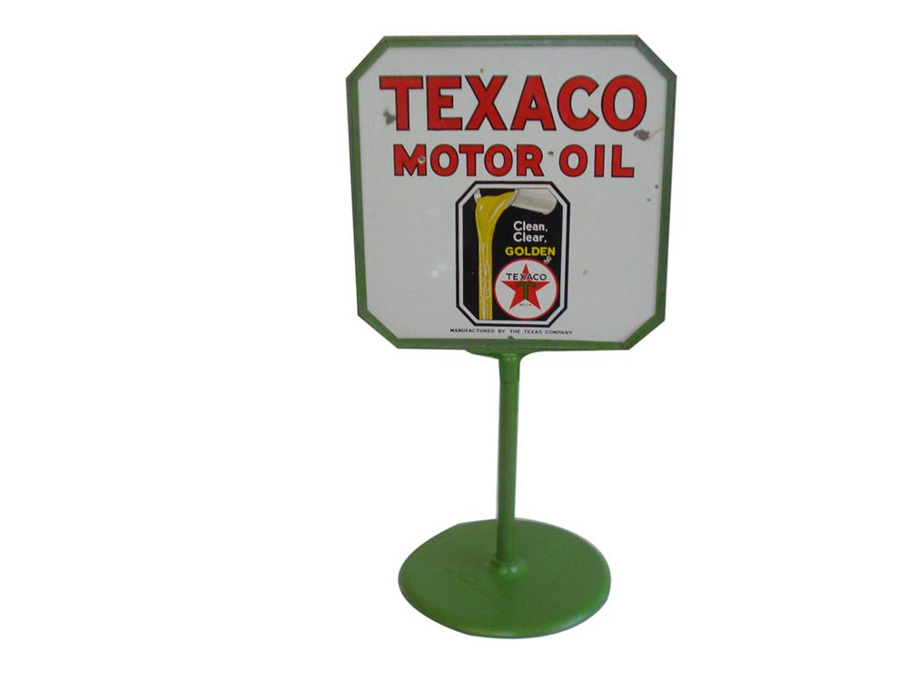 1930s Texaco Motor Oil double-sided porcelain service station curb sign in original stand. - Front 3/4 - 113359