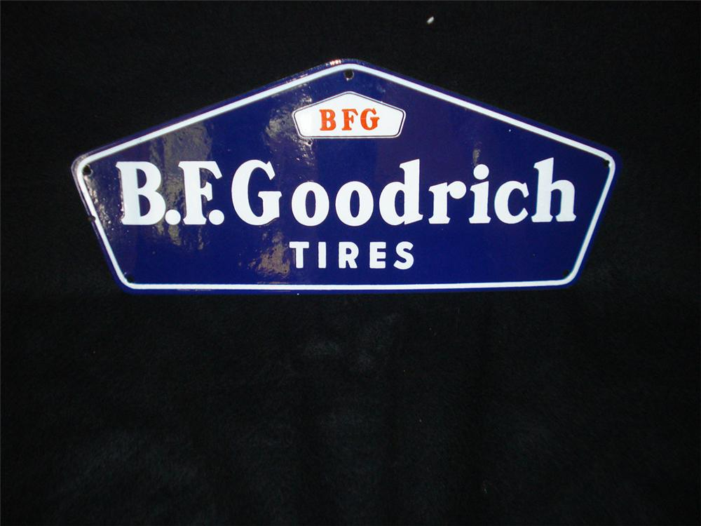 Scarce N.O.S. 1940s B.F. Goodrich Tires single-sided porcelain garage sign. - Front 3/4 - 113362