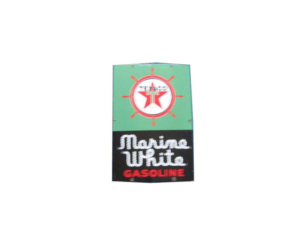 1950s Texaco Marine White Gasoline porcelain pump plate with ships wheel logo. - Front 3/4 - 113365