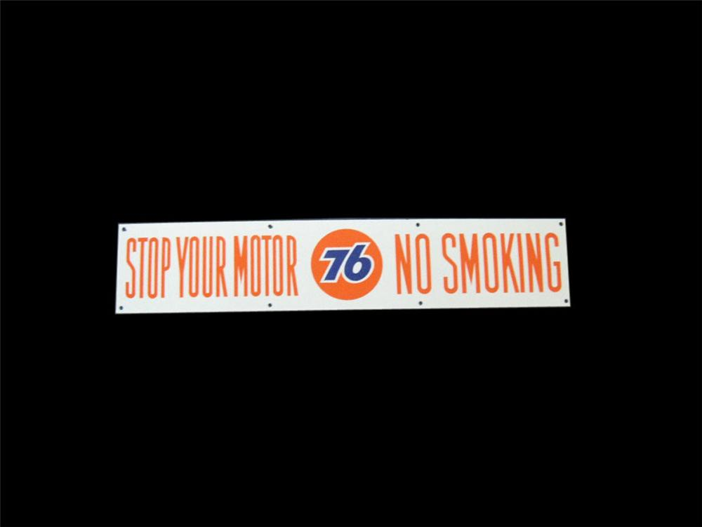 "N.O.S. late 50s-early 60s Union 76 ""Stop Your Motor"" double-sided porcelain service station sign. - Front 3/4 - 113366"
