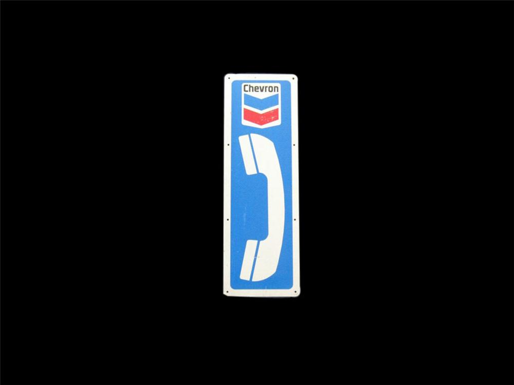 Circa 1960s-70s Chevron Oil service station public telephone tin sign. - Front 3/4 - 113367
