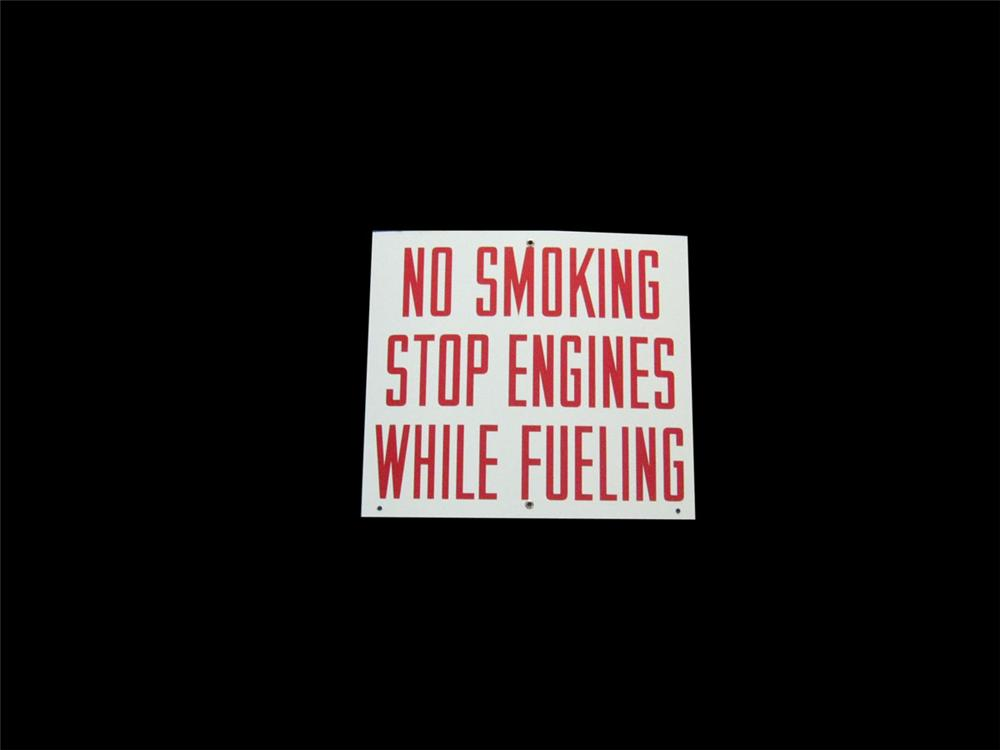 """N.O.S. 1950s service station """"No Smoking Stop Engines While Fueling"""" porcelain sign. Condition: Near Mint - Front 3/4 - 113369"""