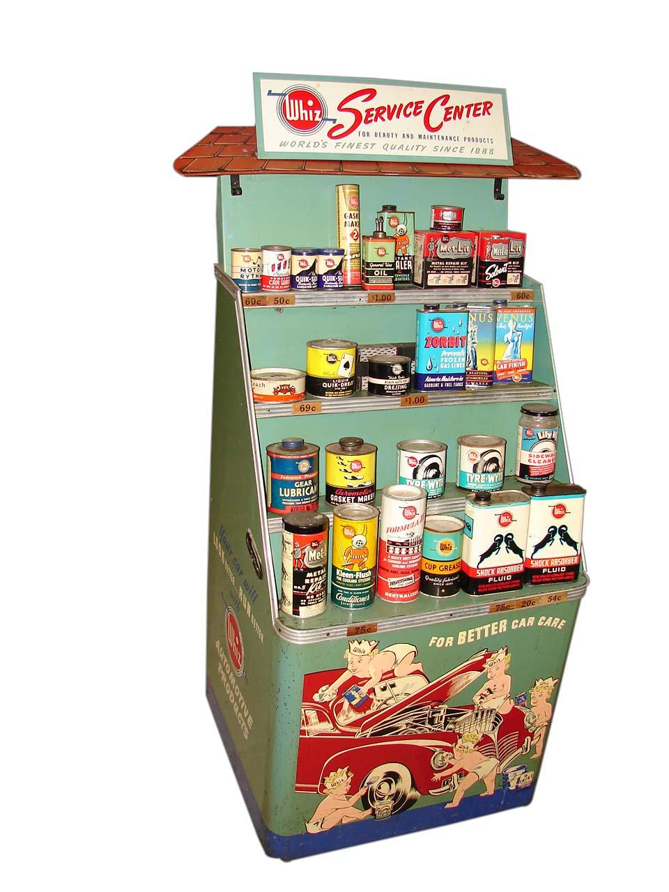 Superlative all original 1940s Whiz Automotive service station display filled with original N.O.S. products. - Front 3/4 - 116537