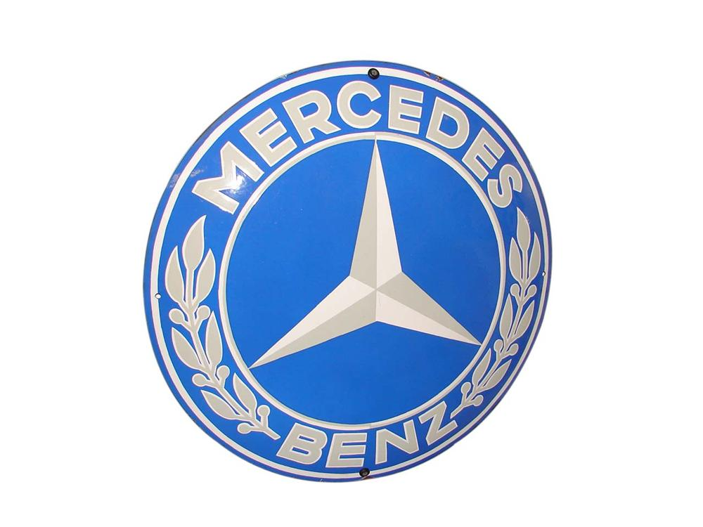 Nearly impossible to find 1950s Mercedes Benz concave porcelain dealership sign - Front 3/4 - 116540