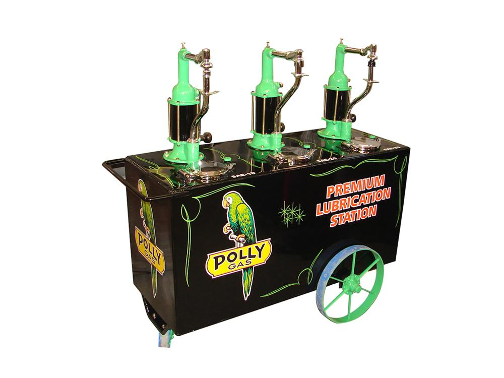 Impressive 1920s-30s Polly Oil filling station triple head oil cart on wheels. - Front 3/4 - 116541