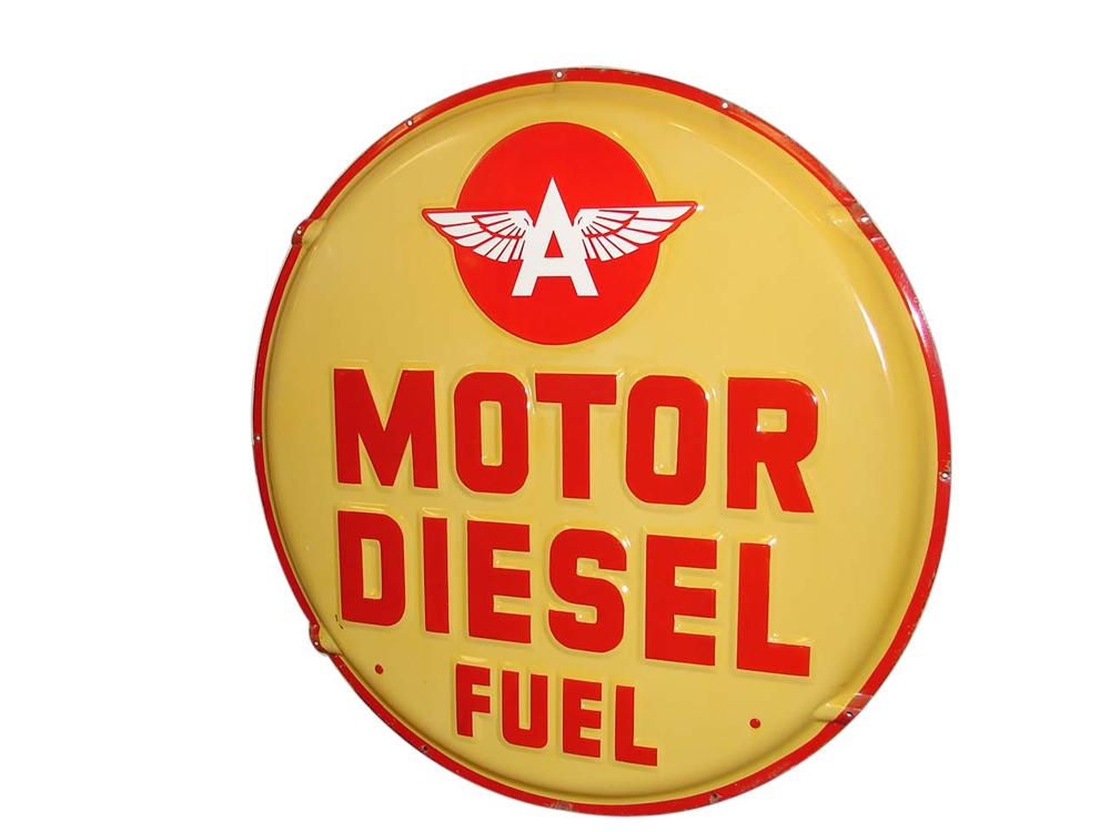 Extremely rare large 1940s-50s Flying A Motor Diesel Fuel embossed sign-sided porcelain service station sign. - Front 3/4 - 116542