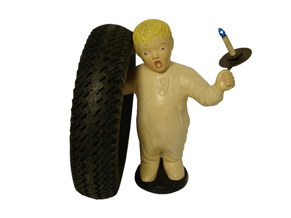 Gorgeous 1930s-40s Fisk Tires Fisk Boy all original three-dimensional garage display with lighted candle. - Front 3/4 - 116543