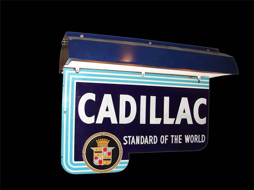 Rarely seen 1940s Cadillac Automobiles double-sided porcelain dealership sign with lighted hood. - Front 3/4 - 116545
