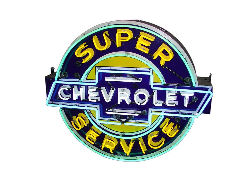 Outstanding 1930s-40s Chevrolet Super Service double-sided porcelain neon dealership signs. - Front 3/4 - 116546