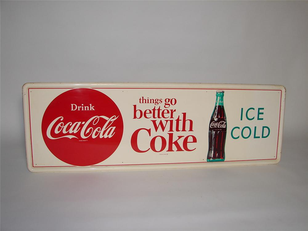 """Scarce late 1950s-early 60s Drink Coca-Cola """"Things Go Better With"""" self-framed horizontal tin sign. - Front 3/4 - 116554"""