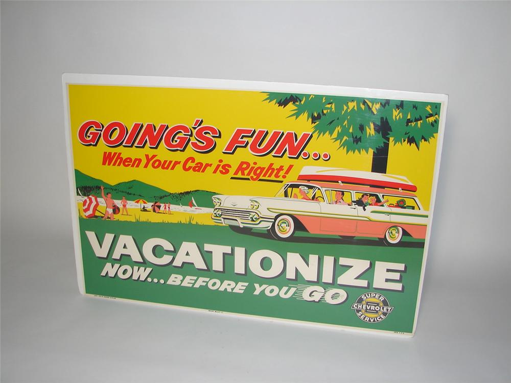 "Exceptional N.O.S. 1959 Chevrolet ""Vacationize"" service department cardboard sign with killer graphics and colors. - Front 3/4 - 116555"
