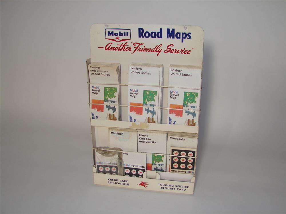Interesting late 1950s Mobil Oil service station metal road map display/holder filled with Mobil maps. - Front 3/4 - 116557