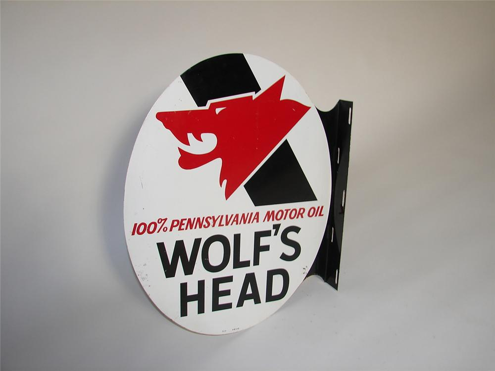 Sharp vintage Wolfs Head Motor Oil double-sided tin painted garage flange sign. - Front 3/4 - 116558